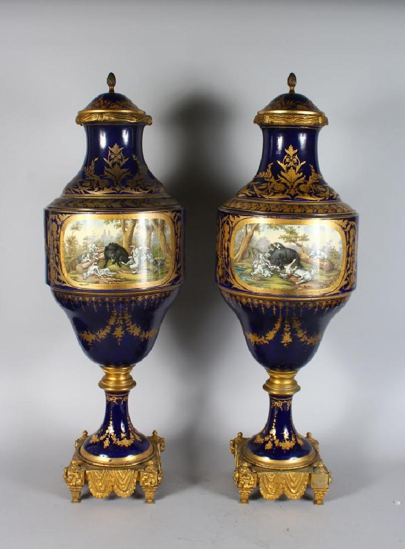 A SUPERB PAIR OF 19TH CENTURY SEVRES PORCELAIN VASES - 2