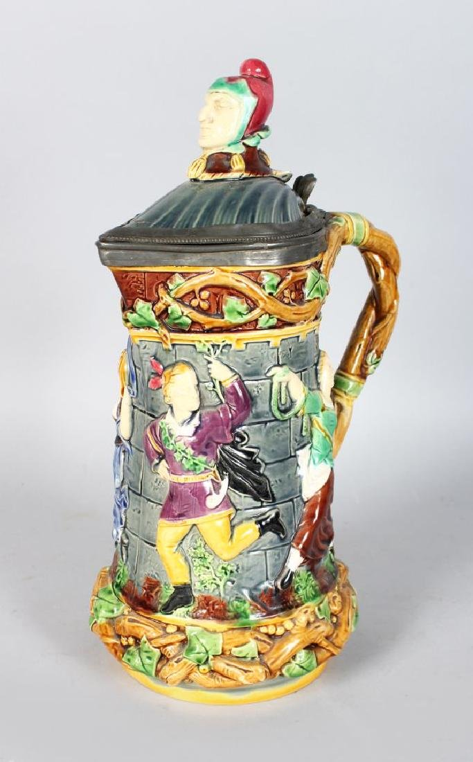 A MINTON MAJOLICA CARNIVAL JESTER JUG, the body with