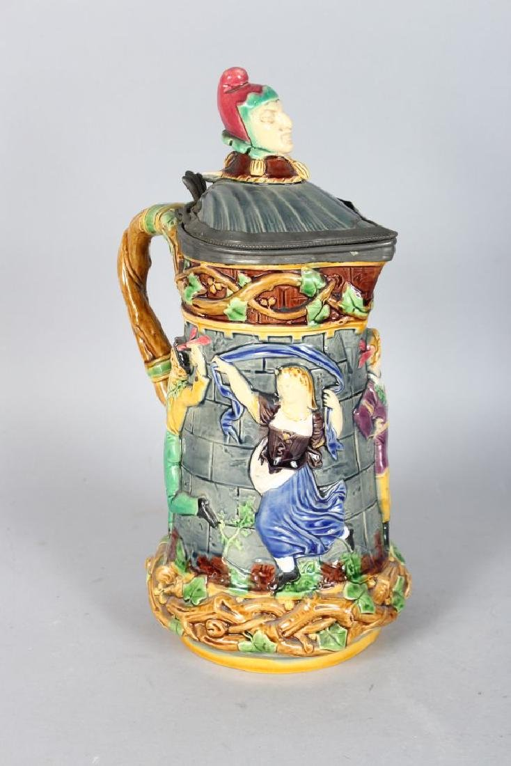 A MINTON MAJOLICA CARNIVAL JESTER JUG, the body with - 2