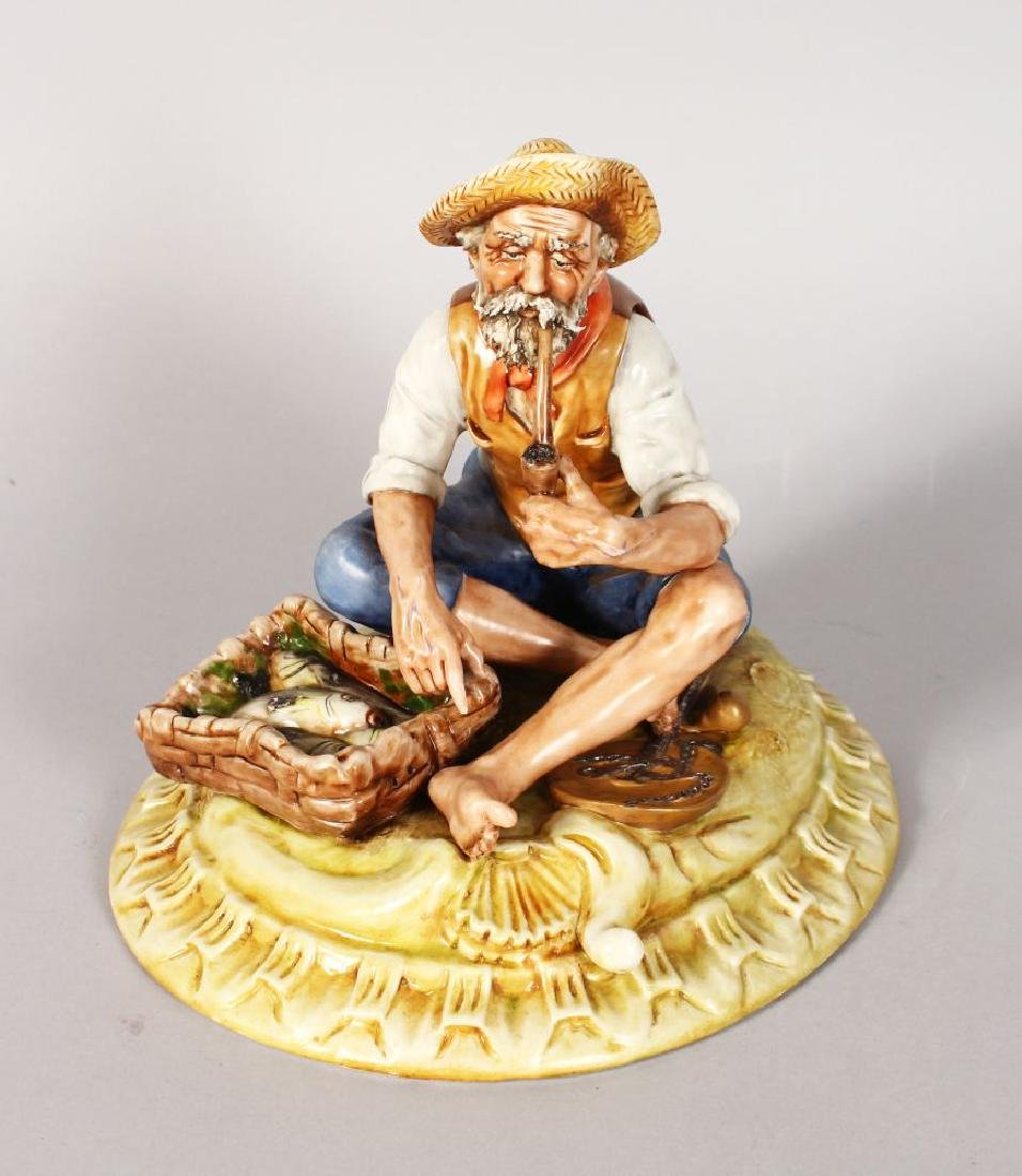A CAPODIMONTE PORCELAIN GROUP, old man smoking a pipe,