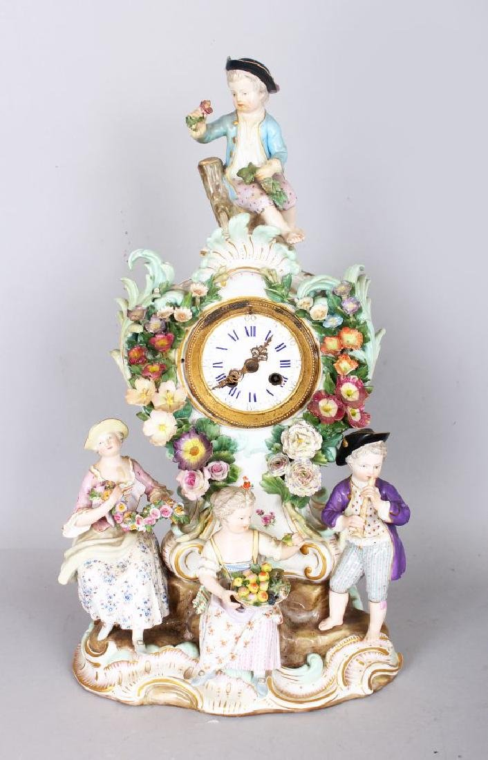 A VERY GOOD 19TH CENTURY MEISSEN PORCELAIN CLOCK, with