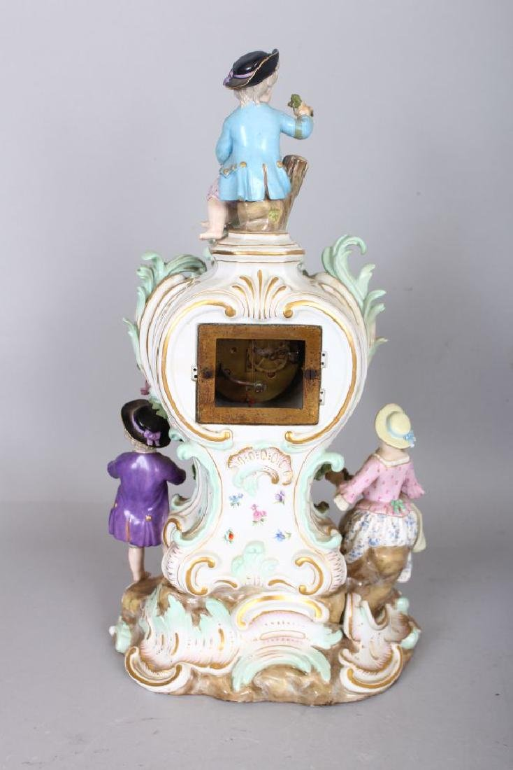 A VERY GOOD 19TH CENTURY MEISSEN PORCELAIN CLOCK, with - 2