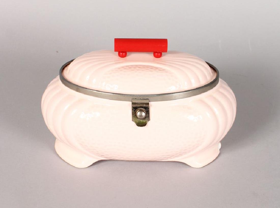 AN ART DECO DESIGN PORCELAIN SANDWICH BOX, red handle.