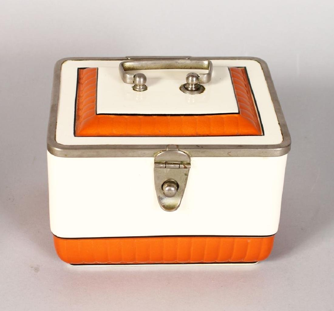 AN ART DECO DESIGN PORCELAIN SANDWICH BOX, orange band.