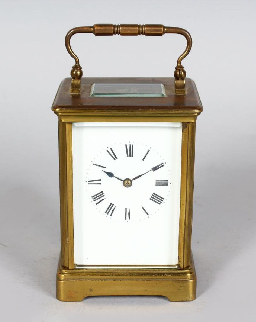 A 19TH CENTURY FRENCH BRASS CARRIAGE CLOCK striking on