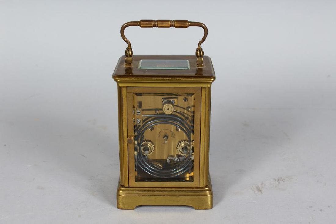 A 19TH CENTURY FRENCH BRASS CARRIAGE CLOCK striking on - 2