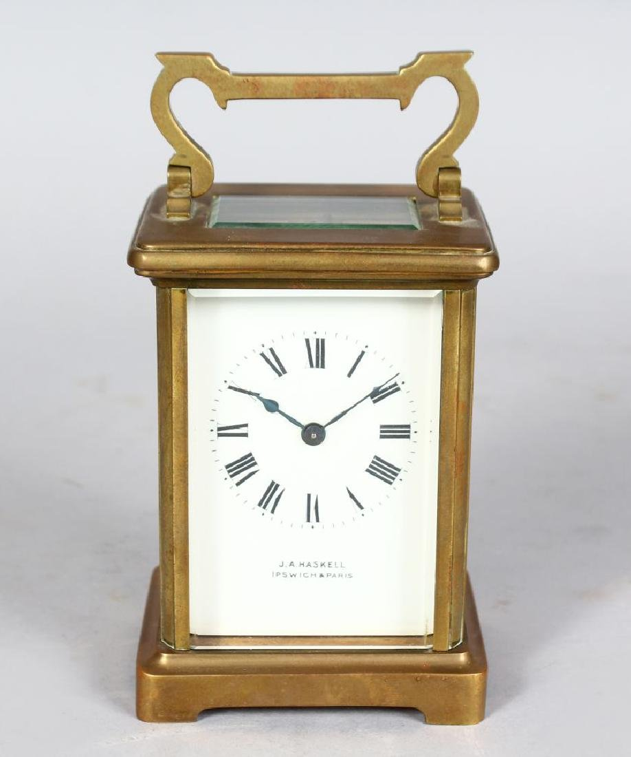 A 19TH CENTURY FRENCH BRASS CARRIAGE CLOCK, Retailed by