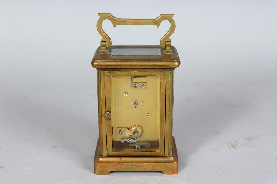 A 19TH CENTURY FRENCH BRASS CARRIAGE CLOCK, Retailed by - 2