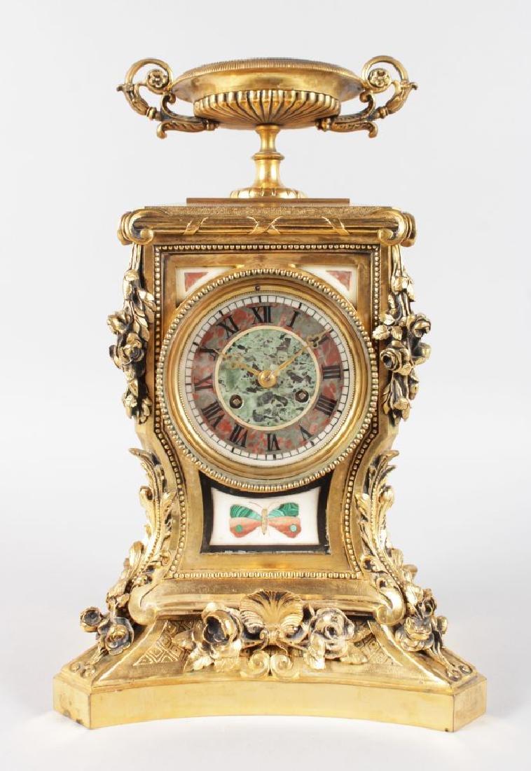 A SUPERB LOUIS XVI ORMOLU AND PIETRA DURA MANTLE CLOCK,