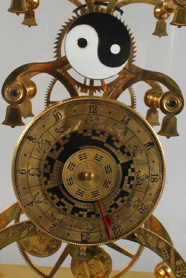 A LARGE SKELETON CLOCK, the brass dial engraved with - 2