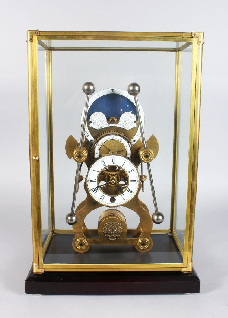 A GOOD SKELETON CLOCK, 20TH CENTURY, with moon phase