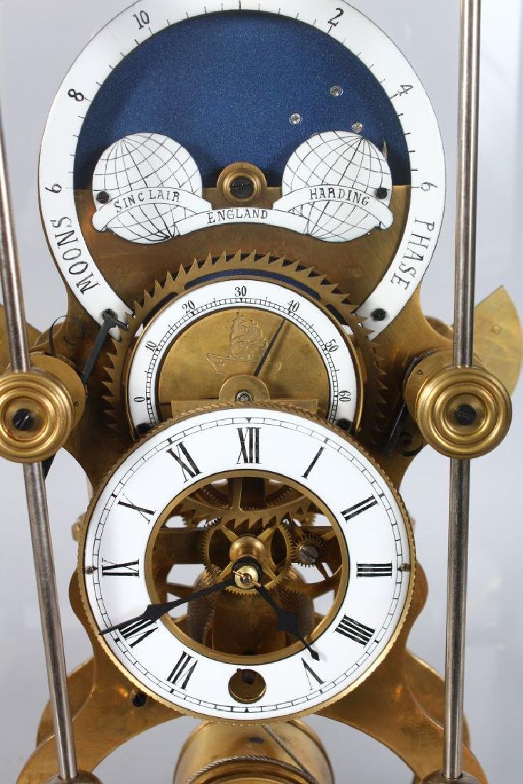 A GOOD SKELETON CLOCK, 20TH CENTURY, with moon phase - 2