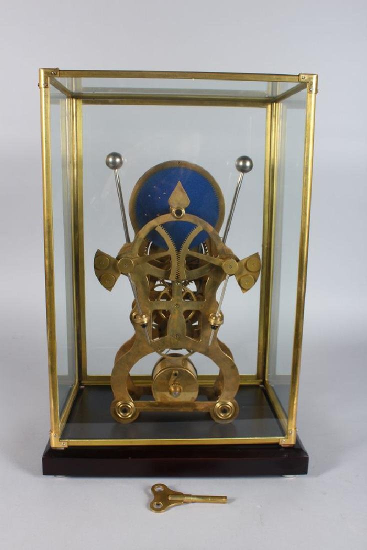 A GOOD SKELETON CLOCK, 20TH CENTURY, with moon phase - 3