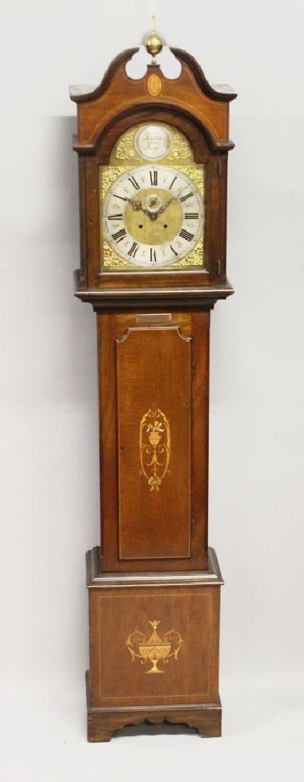 AN EDWARDIAN MAHOGANY LONGCASE CLOCK, with eight-day