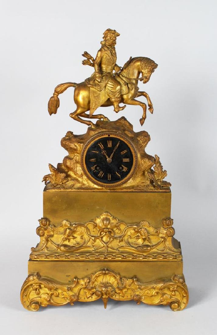 A 19TH CENTURYFRENCH GILT MANTLE CLOCK with enamel