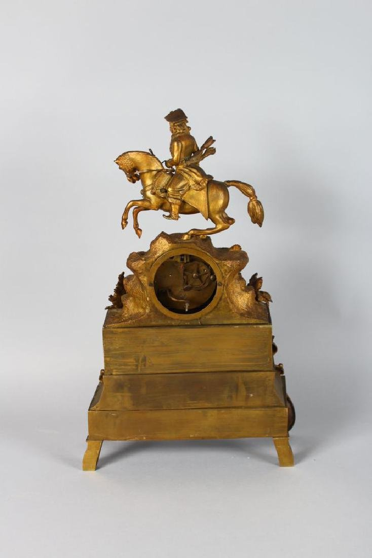 A 19TH CENTURYFRENCH GILT MANTLE CLOCK with enamel - 2