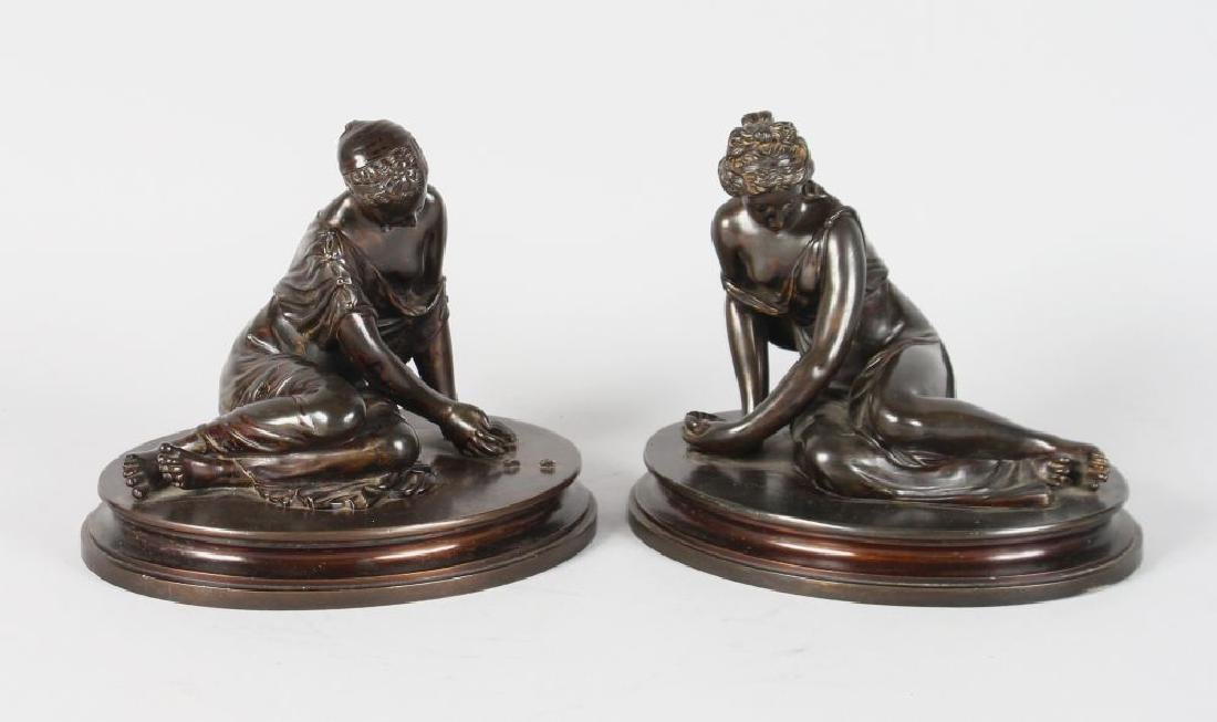 A VERY GOOD PAIR OF BRONZE CLASSICAL YOUNG LADY