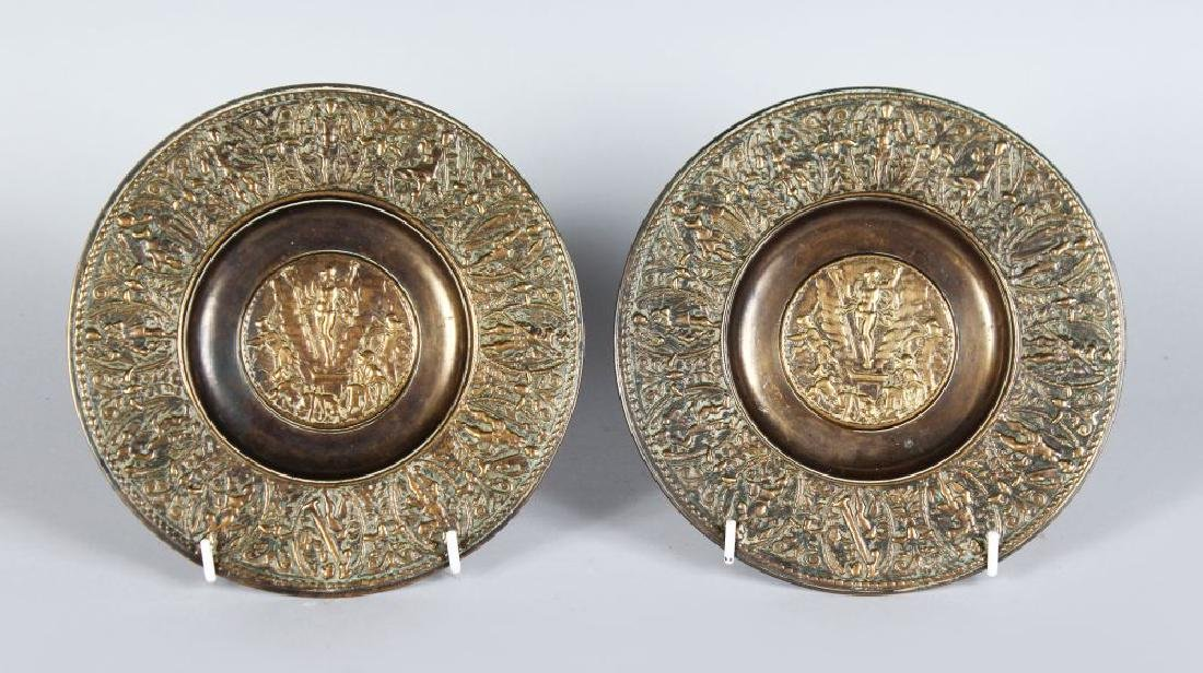A SMALL PAIR OF FRENCH BRONZED CIRCULAR ALMS DISHES.