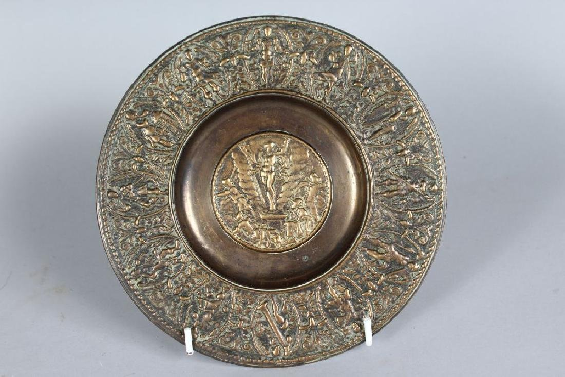 A SMALL PAIR OF FRENCH BRONZED CIRCULAR ALMS DISHES. - 2