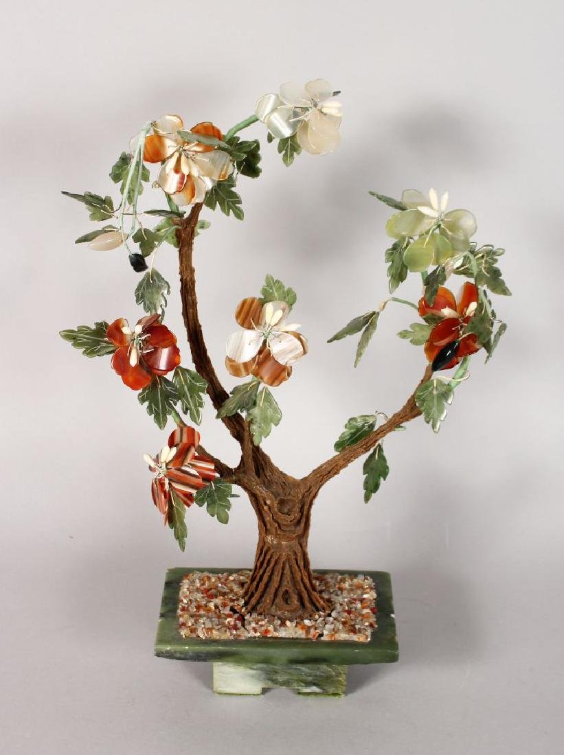 A JADE AND SEMI-PRECIOUS STONE FLOWERING TREE.  16ins