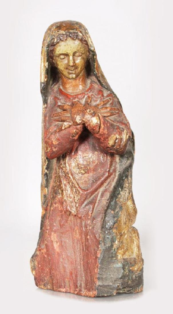 A 16TH-17TH CENTURY CARVED WOOD GILDED AND POLYCHROME