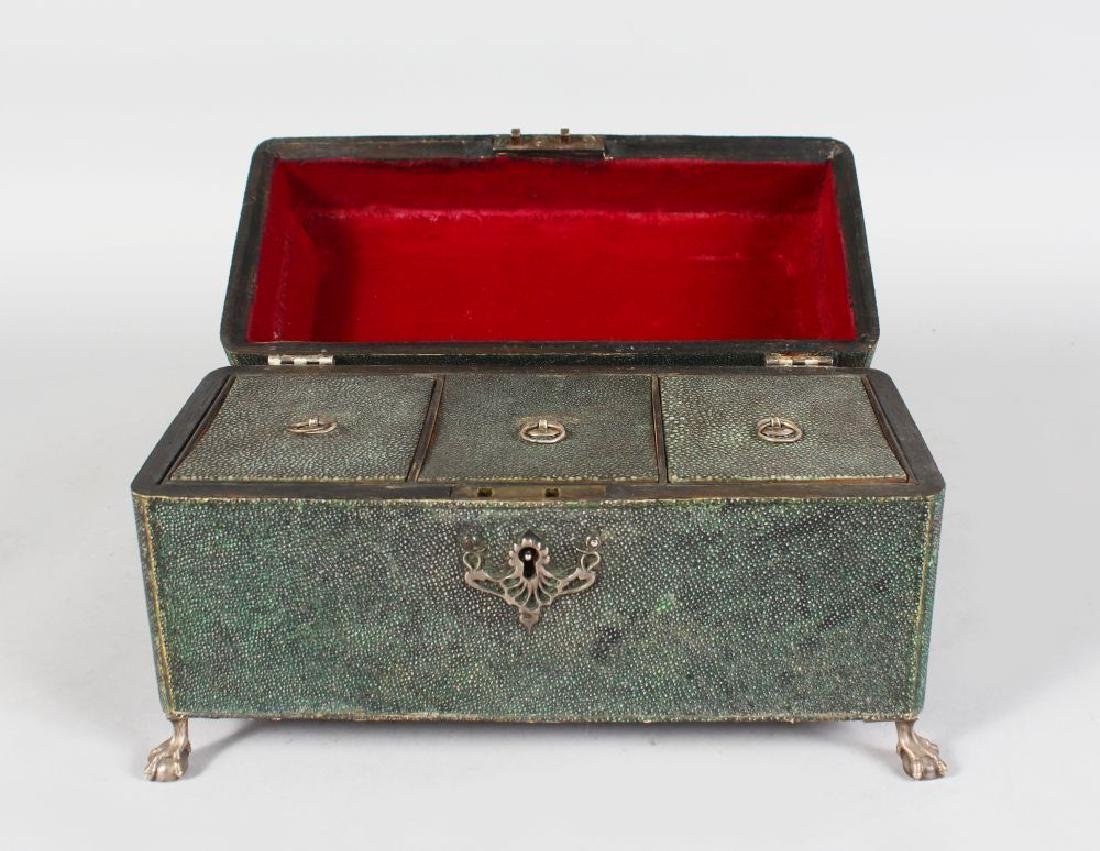 A RARE GEORGE III SHAGREEN THREE DIVISION TEA CADDY,