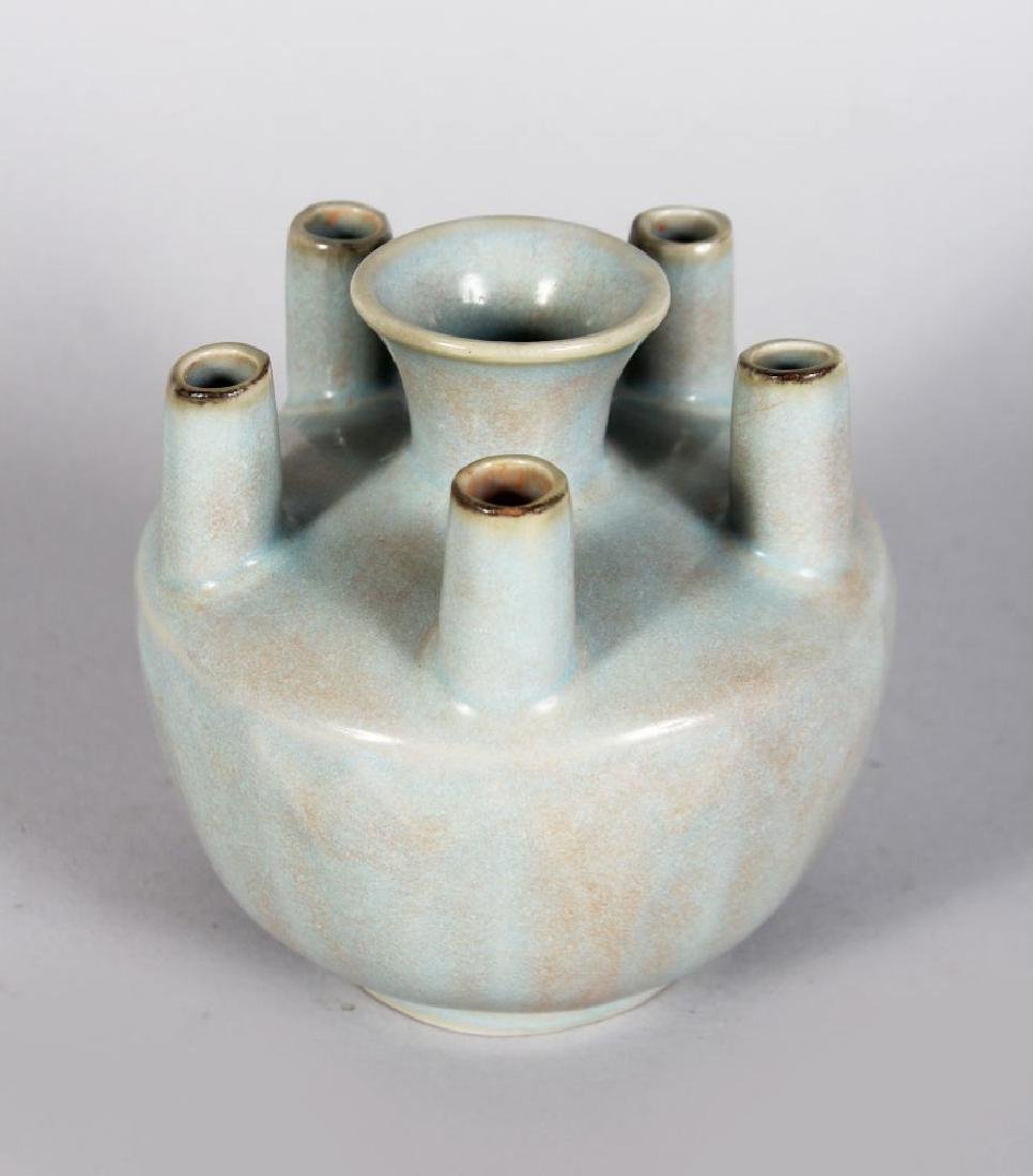 A CHINESE SONG STYLE FUNERARY VASE. 4.5ins diameter.
