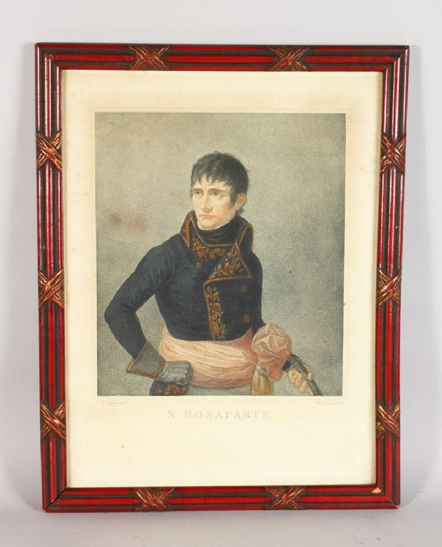 A LARGE COLOURED ENGRAVING OF NAPOLEON BONAPART,  A