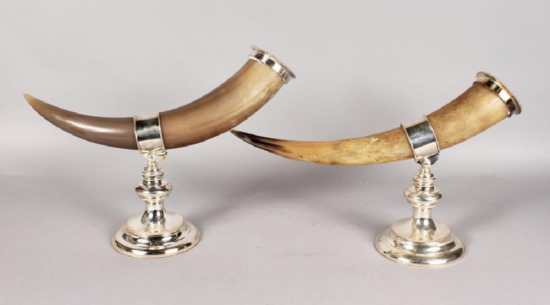A PAIR OF SILVER PLATED HORNS.
