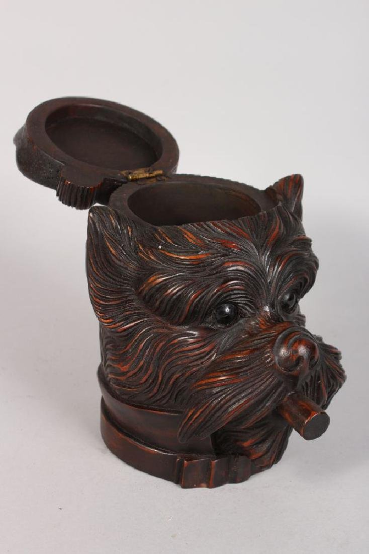 A BLACK FOREST CARVED WOOD DOG'S HEAD with hinged top - 2