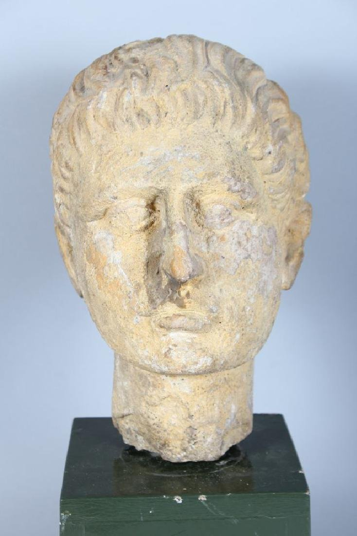 AN EARLY CARVED MARBLE BUST OF A MAN (Possibly Roman), - 2
