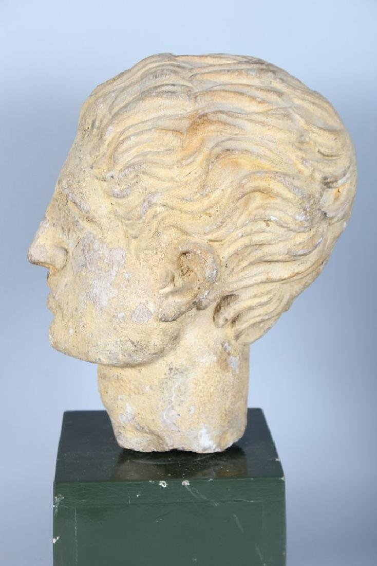 AN EARLY CARVED MARBLE BUST OF A MAN (Possibly Roman), - 3