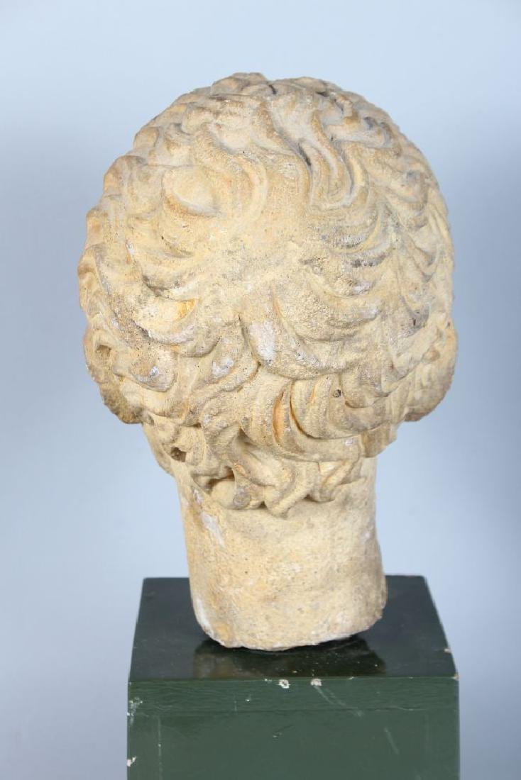AN EARLY CARVED MARBLE BUST OF A MAN (Possibly Roman), - 4