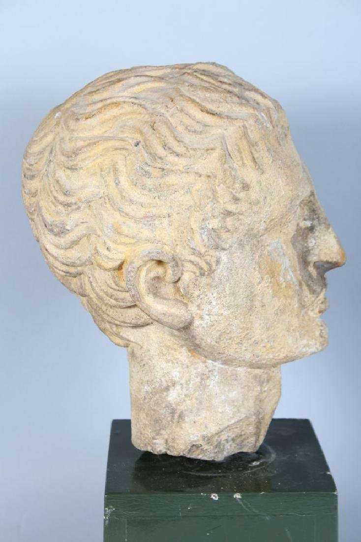 AN EARLY CARVED MARBLE BUST OF A MAN (Possibly Roman), - 5