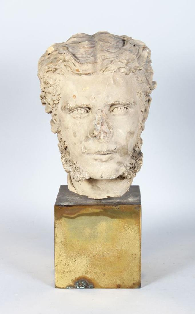 A TERRACOTTA BUST OF A MAN with sideburns.  10ins high.
