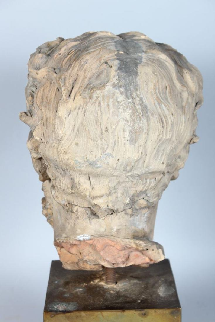 A TERRACOTTA BUST OF A MAN with sideburns.  10ins high. - 3