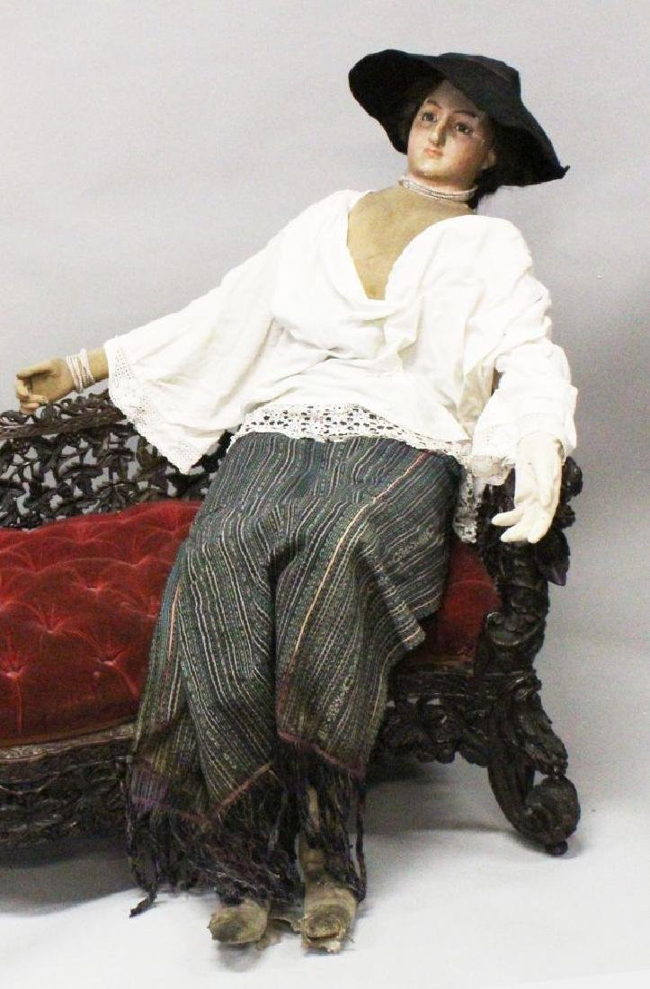 A 19TH CENTURY FRENCH LIFE SIZE FEMALE MANNEQUIN, with