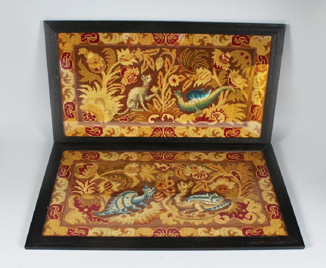 A PAIR OF 19TH CENTURY PLAIT POINT NEEDLEWORK PICTURES,