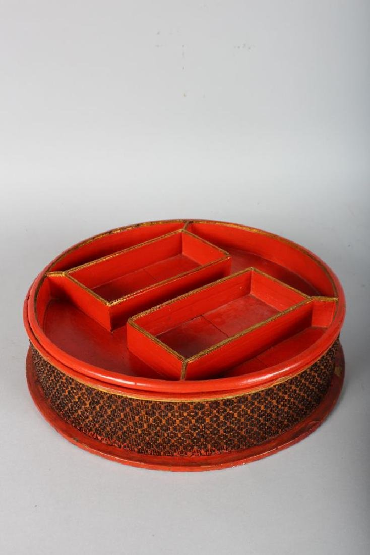 A CIRCULAR RED LACQUER BOX AND COVER. 11ins diameter. - 3