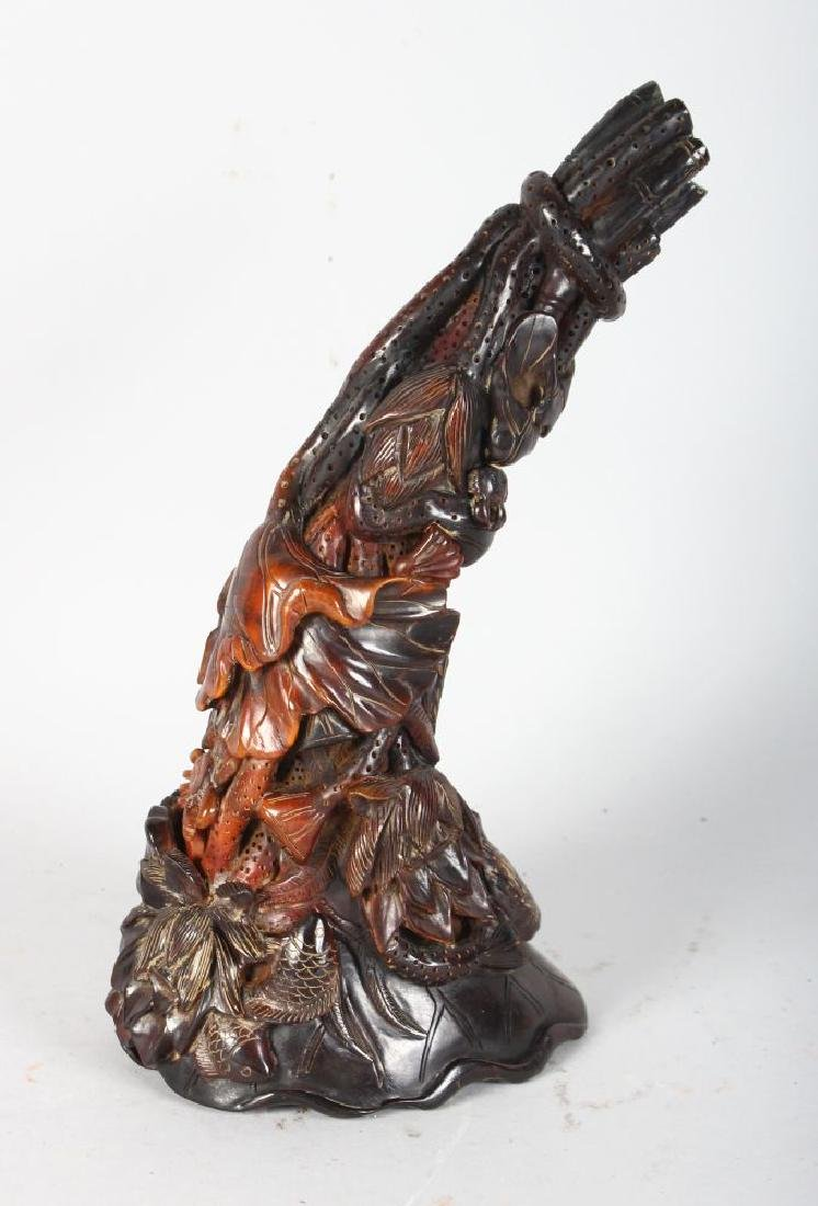 A CHINESE CARVED HORN.
