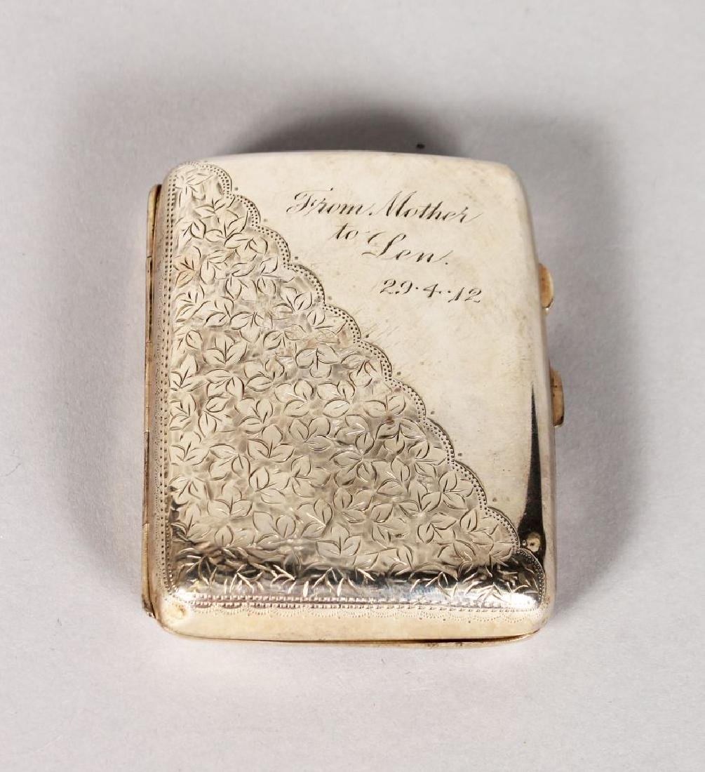 AN ENGRAVED SILVER CIGARETTE CASE.  Birmingham 1909.