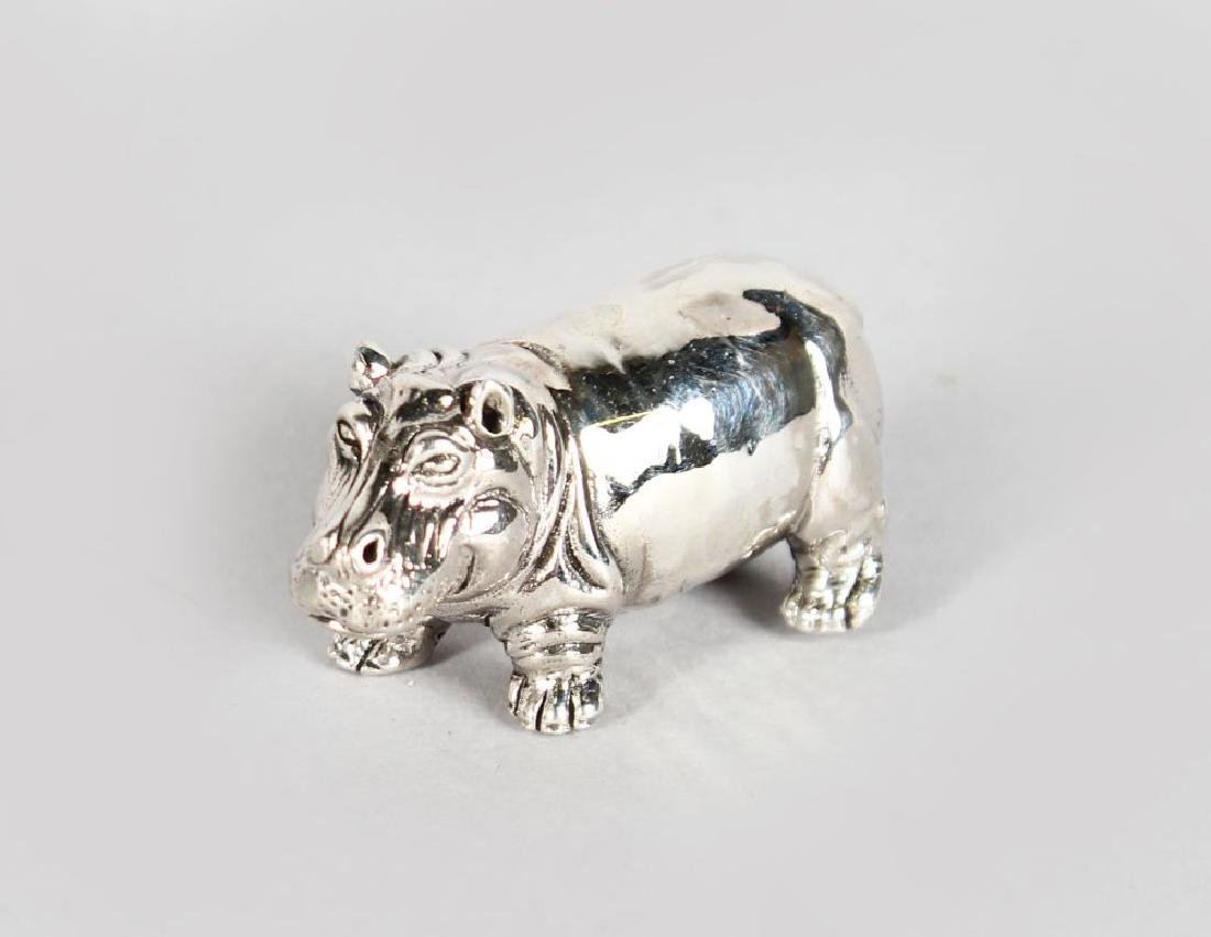 A SILVER NOVELTY HIPPO PIN CUSHION.