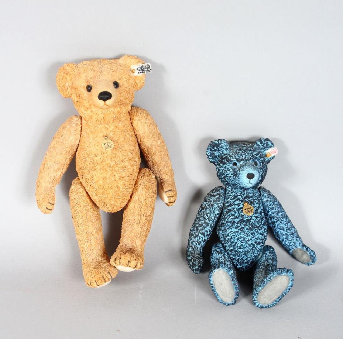 TWO STEIFF POTTERY BEARS, blue 714 of 12,500, and