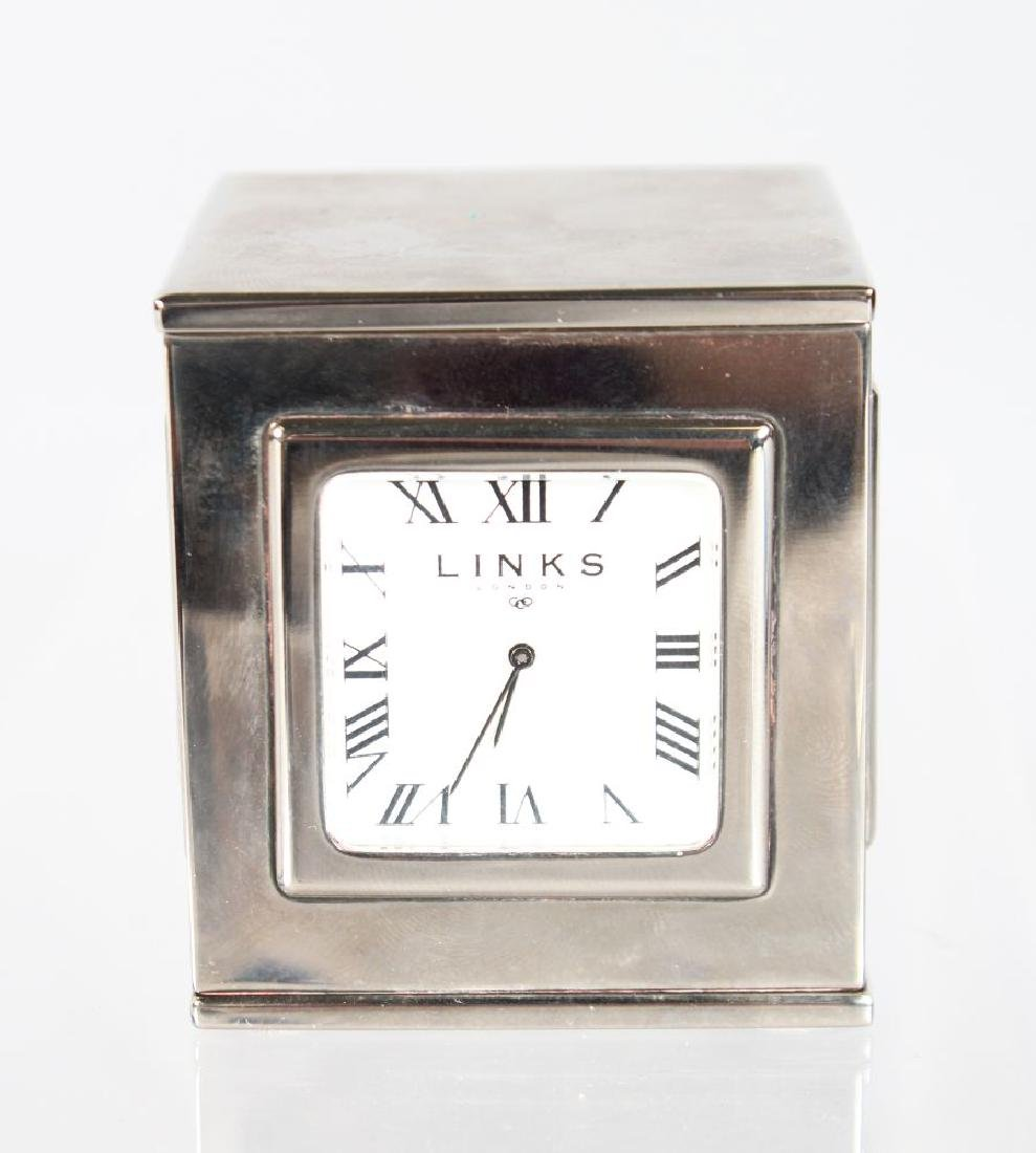 A LINKS OF LONDON SQUARE CLOCK.  2ins.