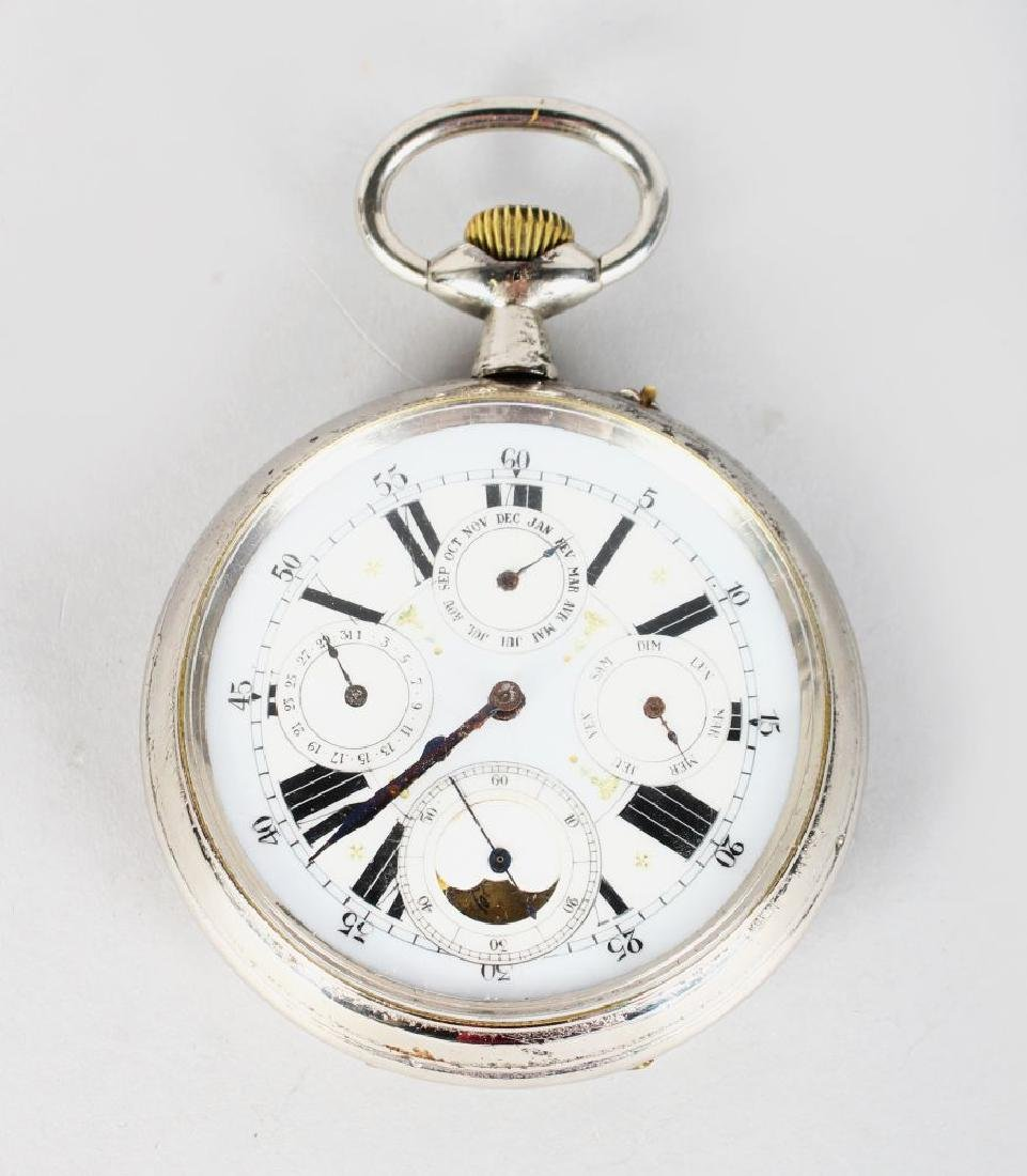 A LARGE CONTINENTAL FIVE DIAL CHROME POCKET WATCH.