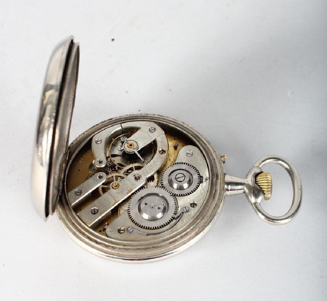 A LARGE CONTINENTAL FIVE DIAL CHROME POCKET WATCH. - 3