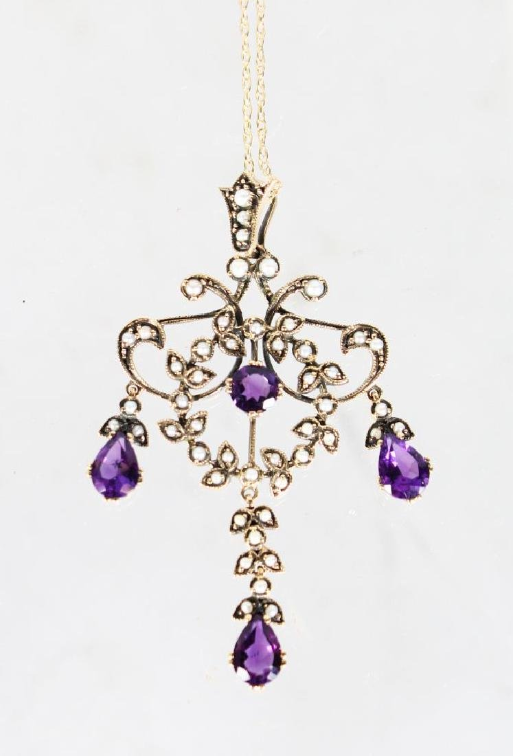 A 9ct GOLD AMETHYST AND PEARL PENDANT ON A GOLD CHAIN.