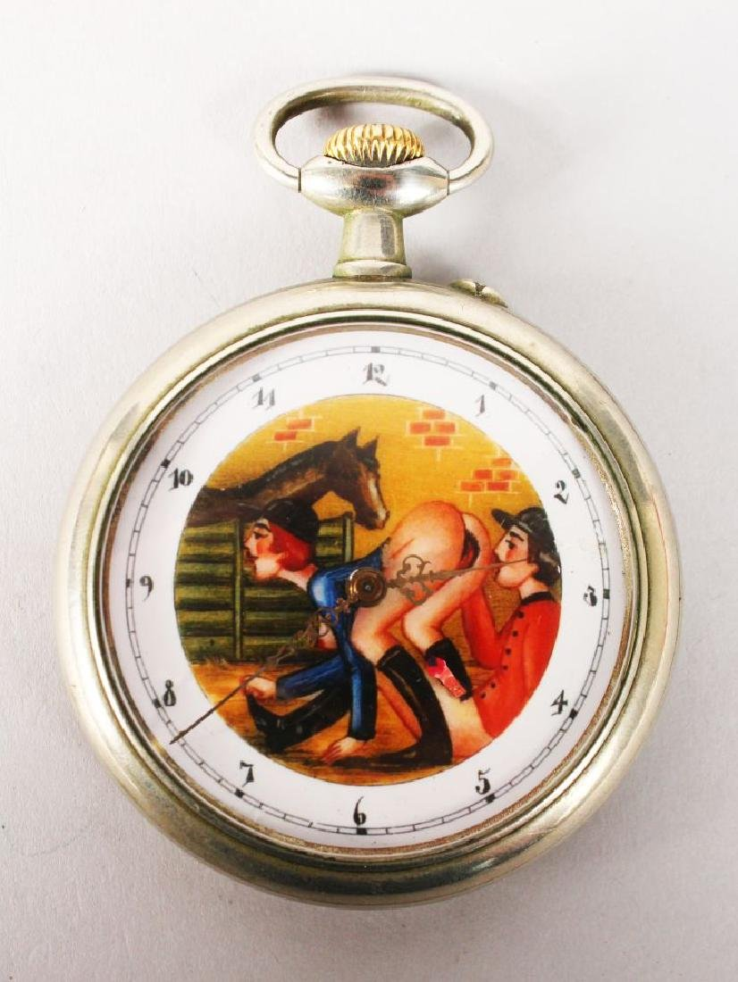 A SWISS MADE EROTIC POCKET WATCH.