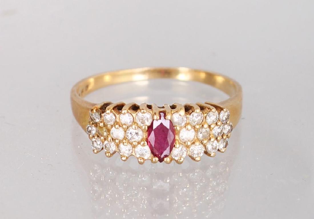 A 14K YELLOW GOLD AND DIAMOND THREE ROW DRESS RING,