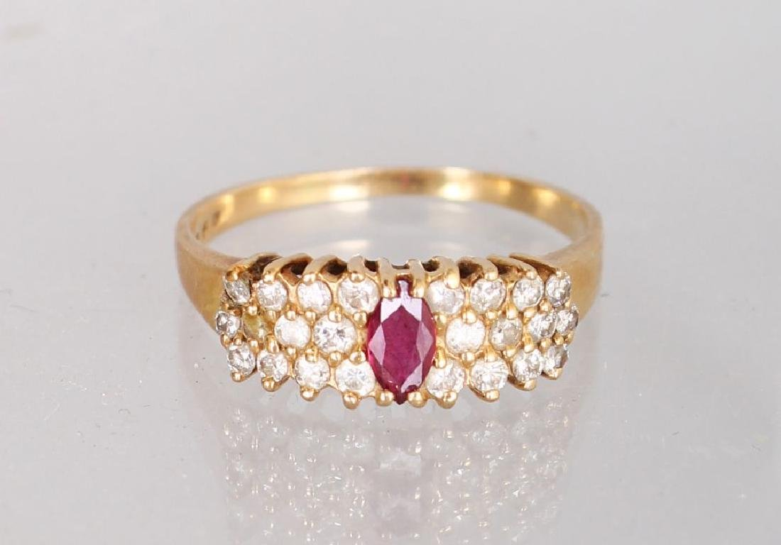 A 14K YELLOW GOLD AND DIAMOND THREE ROW DRESS RING,